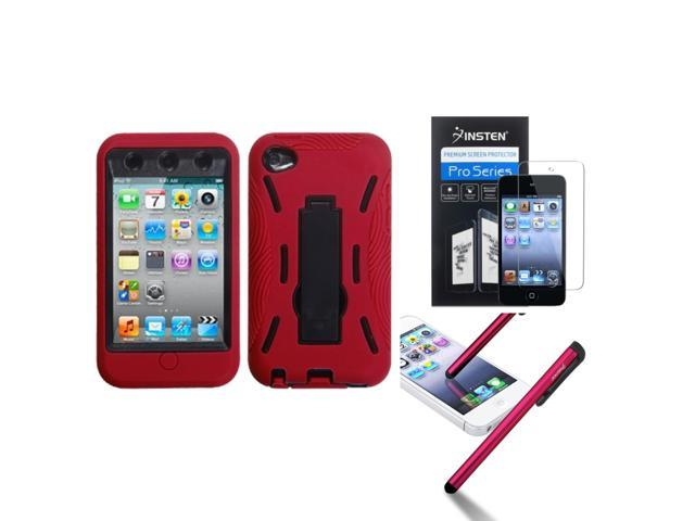 eForCity Black/Red Stand Cover Case + Screen Protector + Stylus compatible with Apple® iPod Touch 4 4G 4th Gen