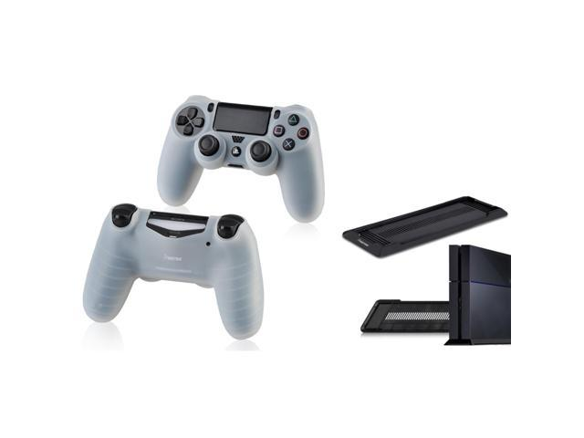 eForCity White Silicone Skin Case with FREE Black Vertical Console Stand Compatible with Sony PlayStation 4 (PS4 )