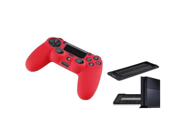 eForCity Red Silicone Skin Case with FREE Black Vertical Console Stand Compatible with Sony PlayStation 4 (PS4 )