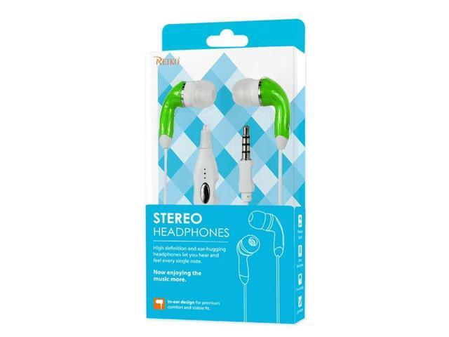 REIKO Smartphone Stereo Headset 3.5MM with Mic, Green