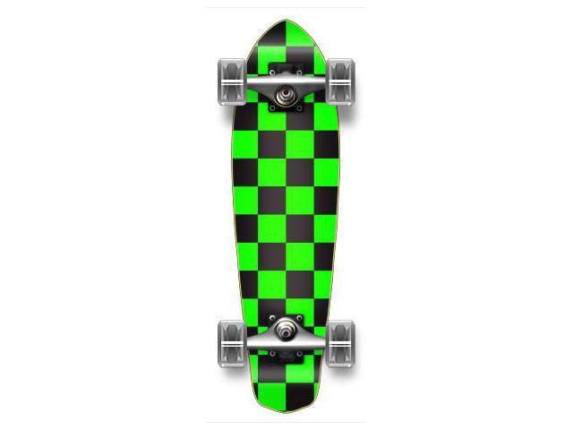 """Complete Graphic Longboard MiCro Cruiser Skateboard 25"""" X 7"""" - CHECKER GREEN"""