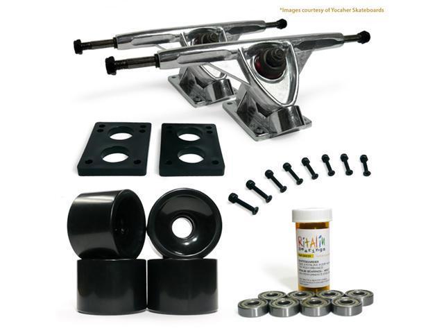 "LONGBOARD Skateboard TRUCKS COMBO set w/ 70mm BLACK WHEELS + 9.675"" POLISHED trucks"