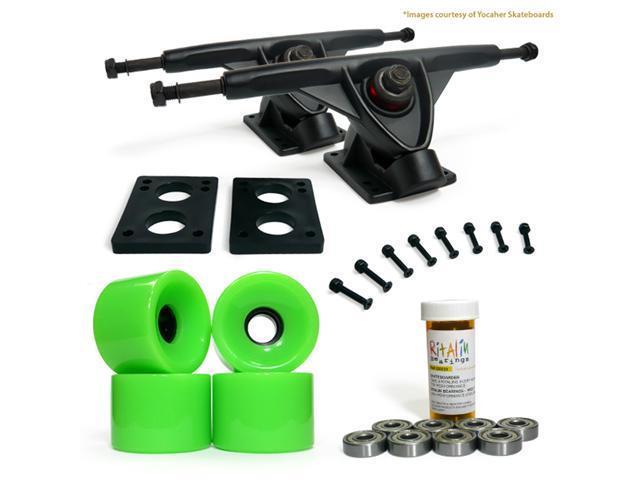 """LONGBOARD Skateboard TRUCKS COMBO set w/ 70mm NEON GREEN WHEELS + 9.675"""" BLACK trucks"""