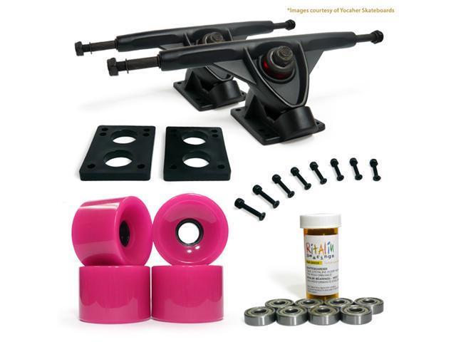 """LONGBOARD Skateboard TRUCKS COMBO set w/ 70mm PINK WHEELS + 9.675"""" BLACK trucks"""