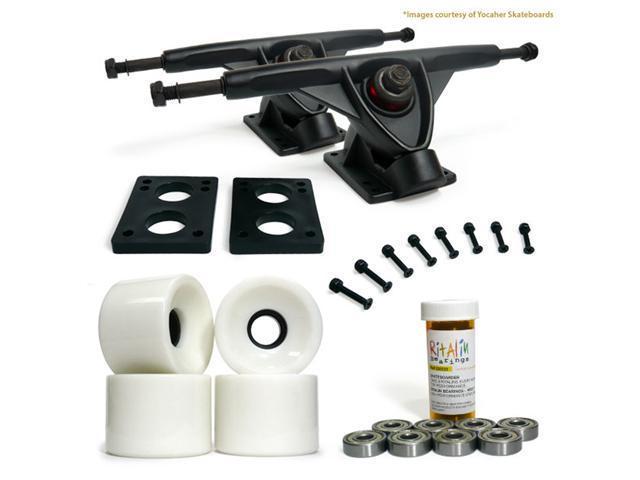"""LONGBOARD Skateboard TRUCKS COMBO set w/ 70mm Solid White WHEELS + 9.675"""" BLACK trucks"""