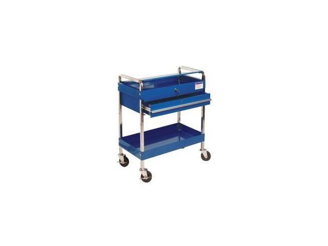Service Cart With Locking Top and Drawer - Blue