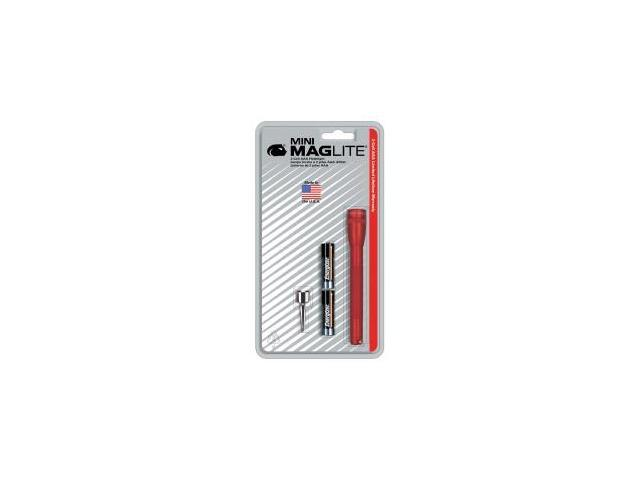 Ultra Mini MagLite Red Flashlight with Belt Clip and 2 AAA Batteries