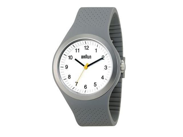 Braun Analog Sports Watch White Face Grey Silicone Band