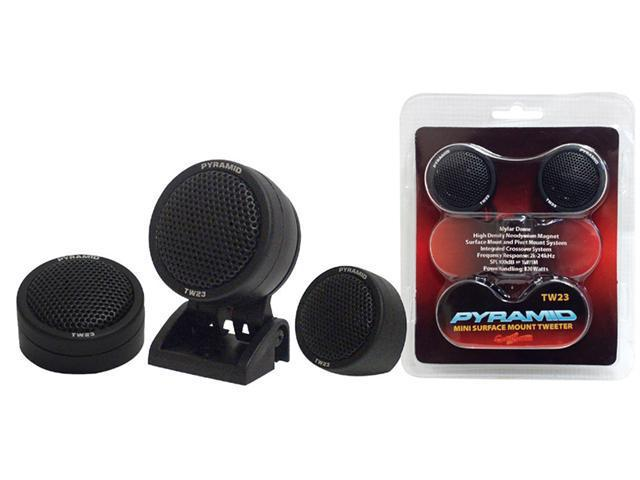 PYRAMID CAR AUDIO TW23 NEW 120W MAYLAR DOME TWEETER SURFACE / PIVOT MOUNT SYSTEM