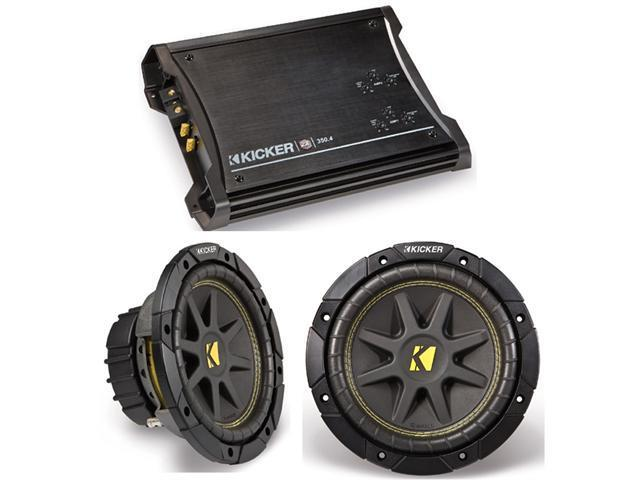 KICKER SUBWOOFER CAR PACKAGE (2) C12 SUBS & ZX350.4 AMP