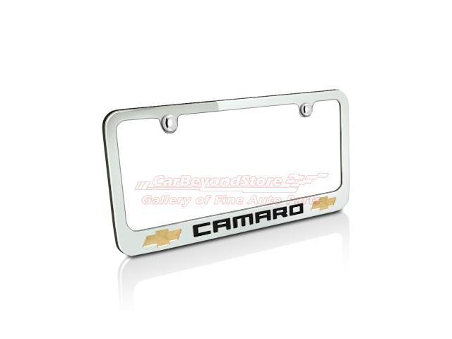 Chevrolet 2010 Camaro Dual Logos Chrome Metal License Frame