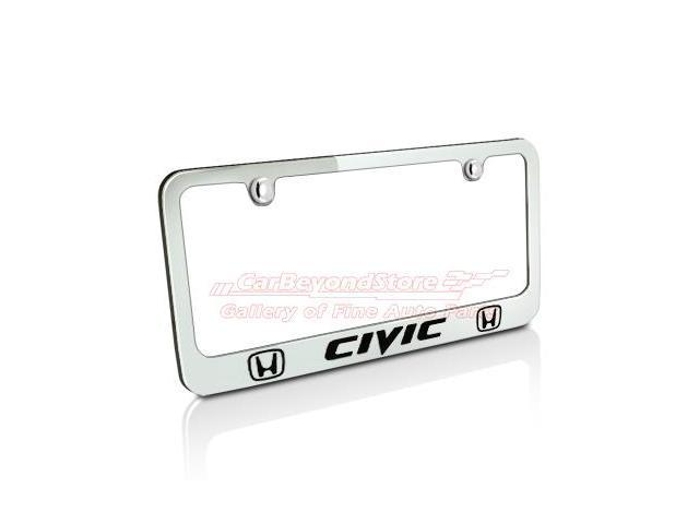 Honda Civic Dual Logos Chrome Metal License Plate Frame