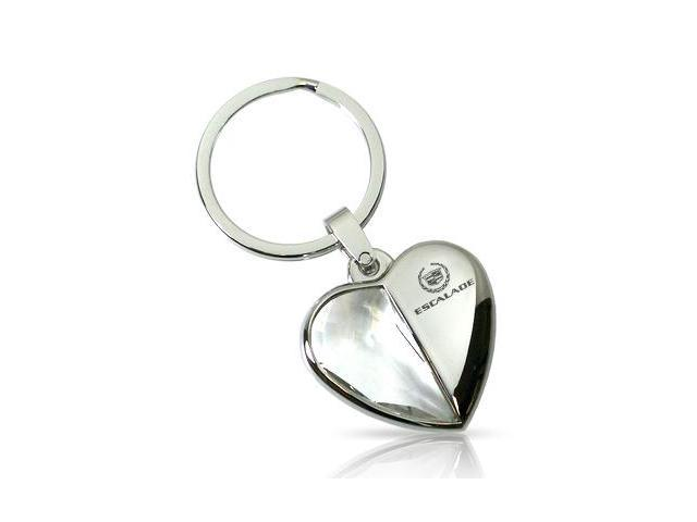 Cadillac Escalade Half Clear Crystal Heart Key Chain