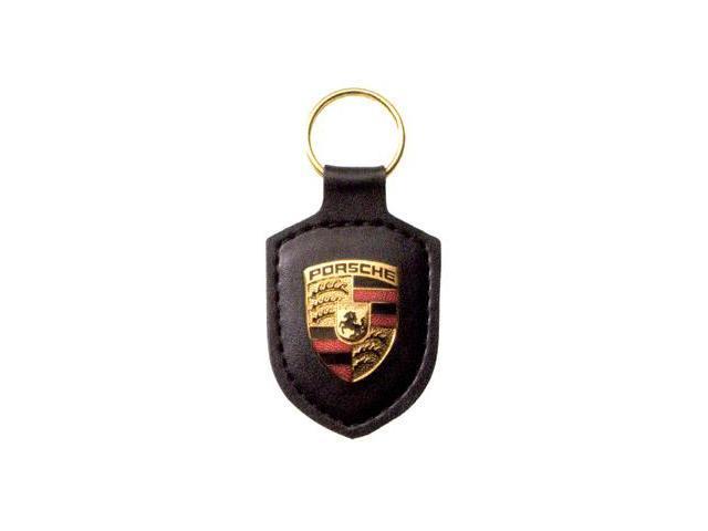 Porsche Crest Black Leather Key Chain