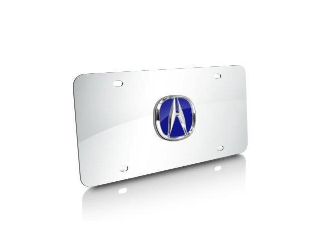 Acura Blue Infill 3D Logo Chrome Steel License Plate