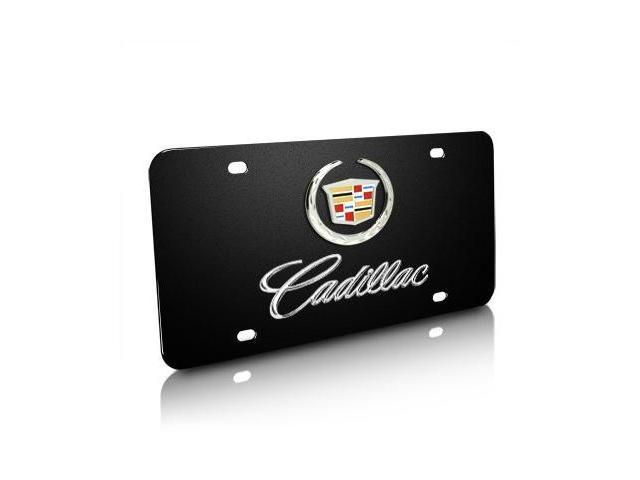 Cadillac Logo and Name on Black Steel License Plate