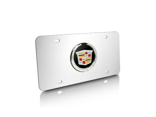 Cadillac Black Infill Logo on Chrome License Plate