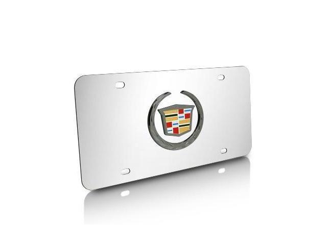 Cadillac Black Pearl Logo on Chrome Steel License Plate