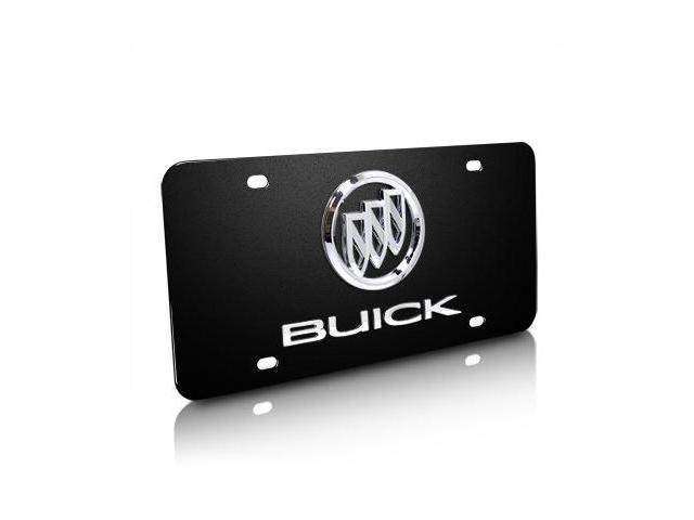 Buick Chrome Logo and Name on Black Steel License Plate