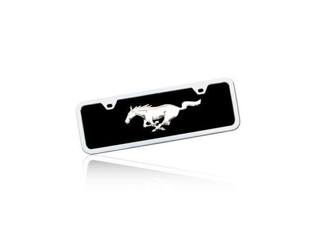 Ford Mustang Half-size Black Acrylic License Plate with Chrome Frame