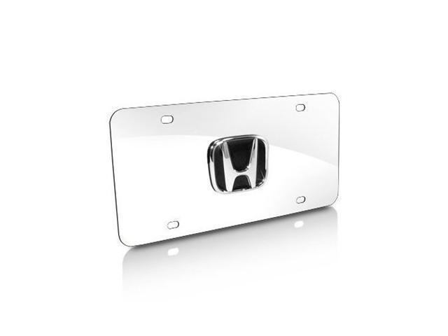 Honda Black Infill 3D Logo Chrome Steel License Plate