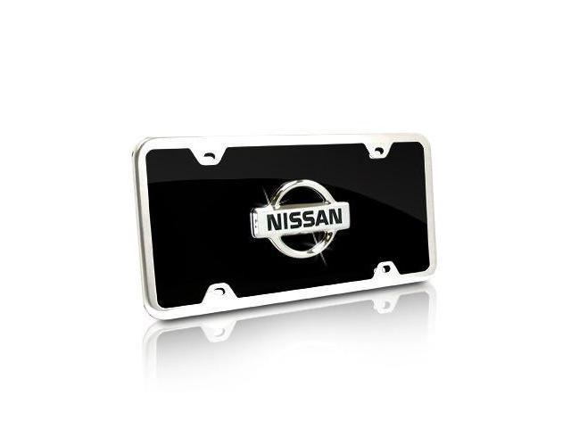 Nissan Vintage Logo Black Acrylic License Plate Kit