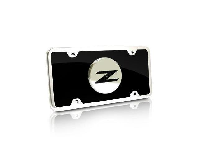 Nissan 350Z Black Acrylic License Plate with Chrome Frame Kit