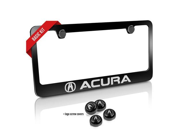 Acura Black Metal License Plate Frame and Screw Cover Basic Kit