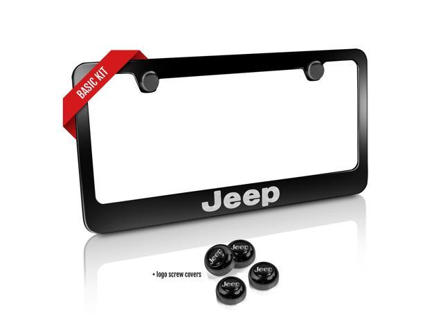 jeep black metal license plate frame and screw cover basic kit. Cars Review. Best American Auto & Cars Review