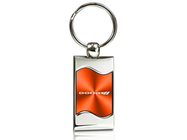 Dodge Logo Orange Spun Brushed Metal Key Chain