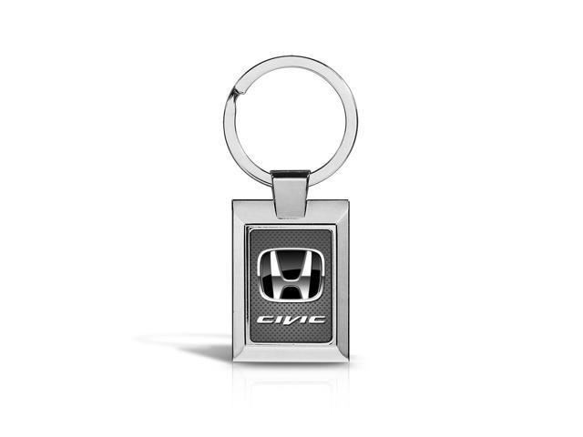Honda Civic Black Logo on Gray Metal Chrome Key Chain