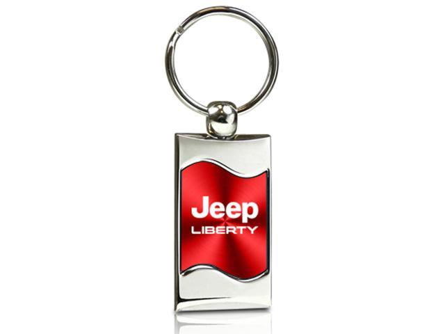Jeep Liberty Red Spun Brushed Metal Key Chain