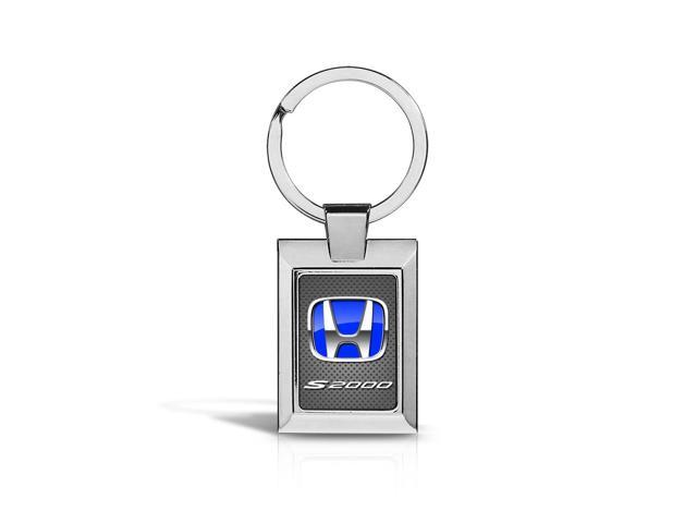 Honda S2000 Blue Logo on Gray Metal Look Chrome Key Chain