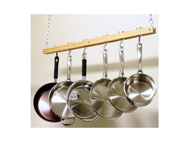 Cook N Home 36 inch Wood Single Bar Pot Rack NC-00269