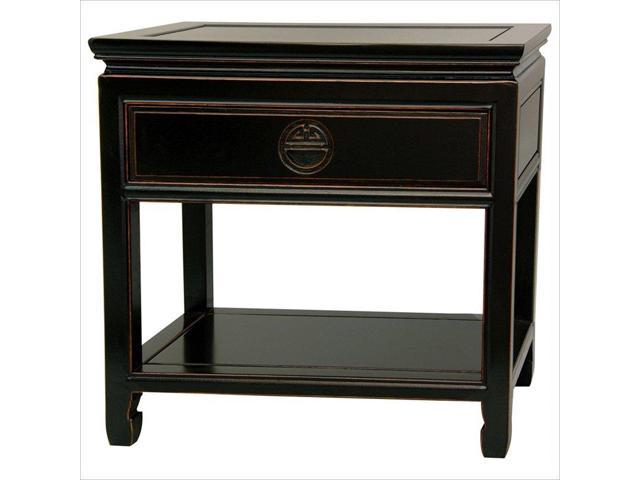 Oriental Furniture Bedside Table in Black