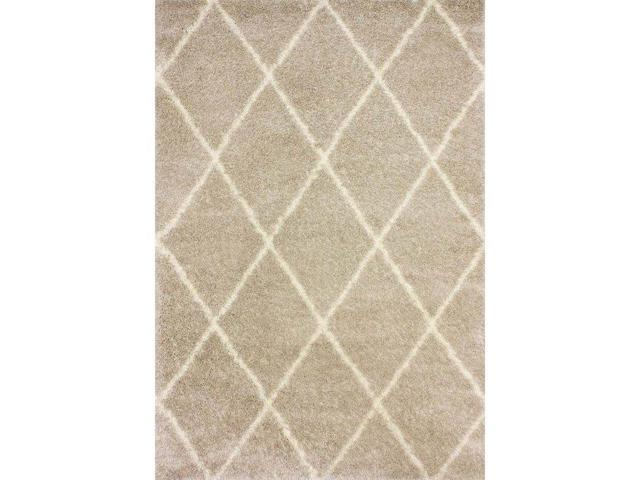 Nuloom OZSG09D-53076 Machine Made Diamond Shag Rug, Beige - 5 ft. 3 in. x 7 ft. 6 in.