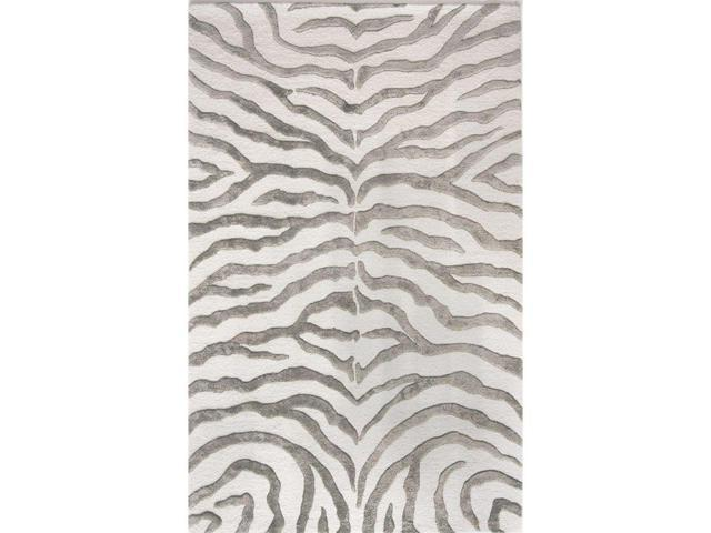 Nuloom ZF5-76096 Hand Tufted Plush Zebra Rug, Grey - 7 ft. 6 in. x 9 ft. 6 in.