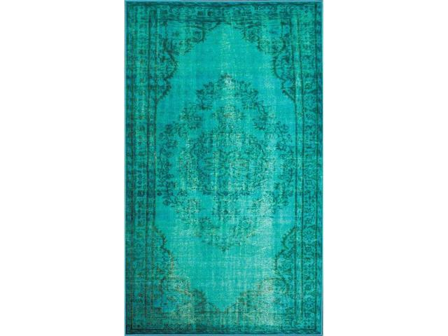 Nuloom DIRE1D-8010 Machine Made Vintage Inspired Overdyed Rug, Turquoise - 8 ft. 2 in. x 9 ft. 11 in.