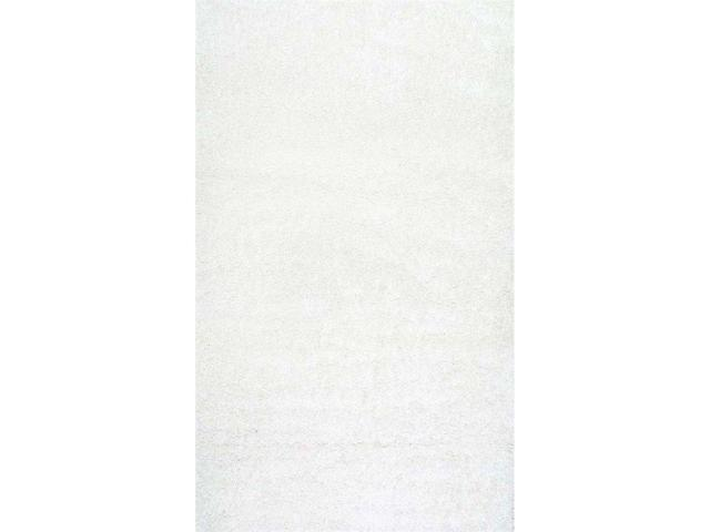 Nuloom SHG1-92012 Machine Made Shag Rug, White - 9 ft. 2 in. x 12 ft.