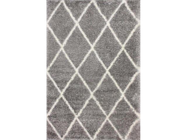 Nuloom OZSG09F-406 Machine Made Diamond Shag Rug, Ash - 4 ft. x 6 ft.
