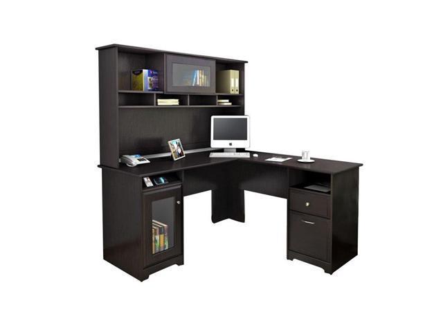 Bush Cabot L Shaped Computer Desk With Hutch In Espresso