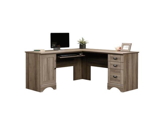Sauder Harbor View L Shaped puter Desk in Salt Oak