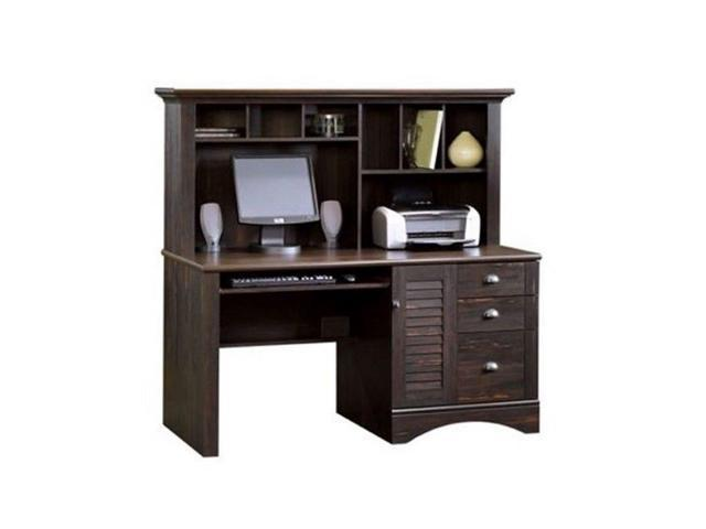 Sauder Harbor View Computer Desk With Hutch In Antiqued