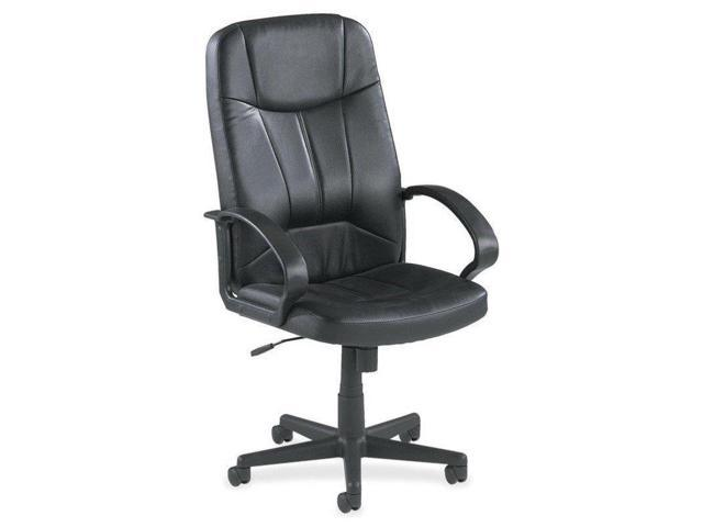 Lorell LLR60120 Executive High-Back Chair- 26in.x29-.50in.x49-1.19in.- Black Lthr.