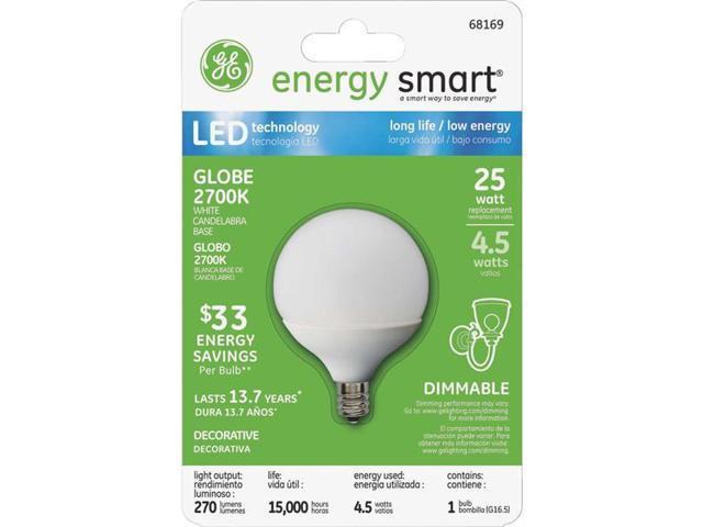 GE Lighting 4.5w White G16.5 Globe 68169