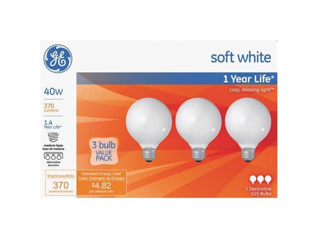 GE Lighting 3 Pack 40w White G25 Globe 44742