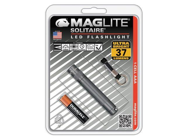 Maglite Solitaire Gray LED 37 Lumens Flashlight w/ Lanyard & Battery - SJ3A096