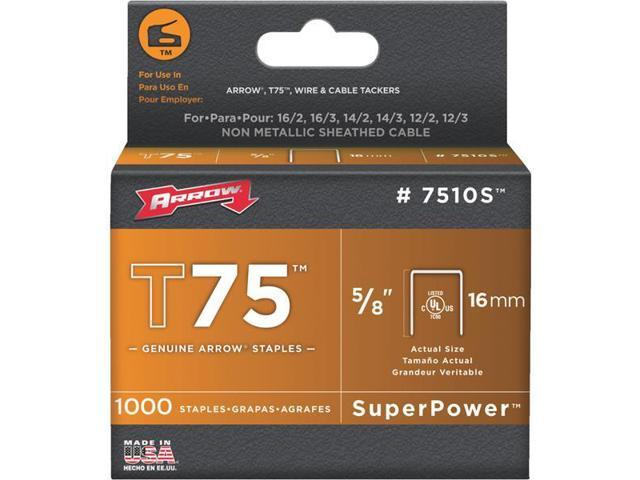 Arrow Fastener 7510S T75 5/8 Inch (16mm) Super Strength Staples, 1000/Pk