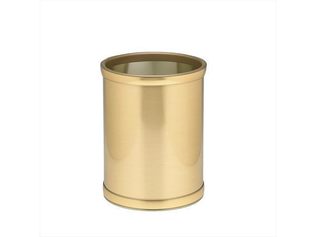 """Mylar Brushed  Brass 10"""" Rd. Waste Basket"""