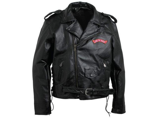 Diamond Plate GFMOTLTRL Large Men's Hand-Sewn Pebble Grain Genuine Buffalo Leather Jacket